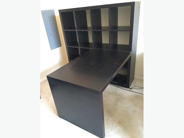 Ikea Expedit Bookcase Desk Black Brown 120 Rockland