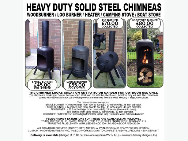 Log Wood Burner Chiminea Patio Heater Allotment Gas