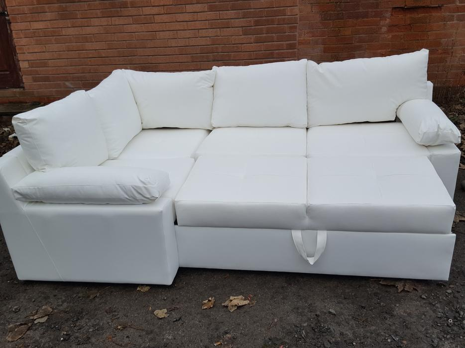 Brand New White Leather Corner Sofa Bed With Storagecan