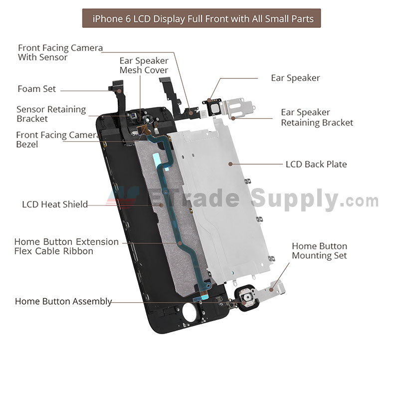 Apple iPhone 6 LCD Assembly with Frame and Home Button Silver