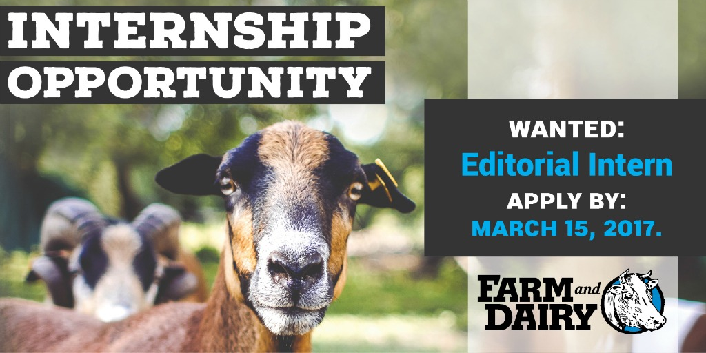 We\u0027re looking for a 2017 summer intern - Farm and Dairy