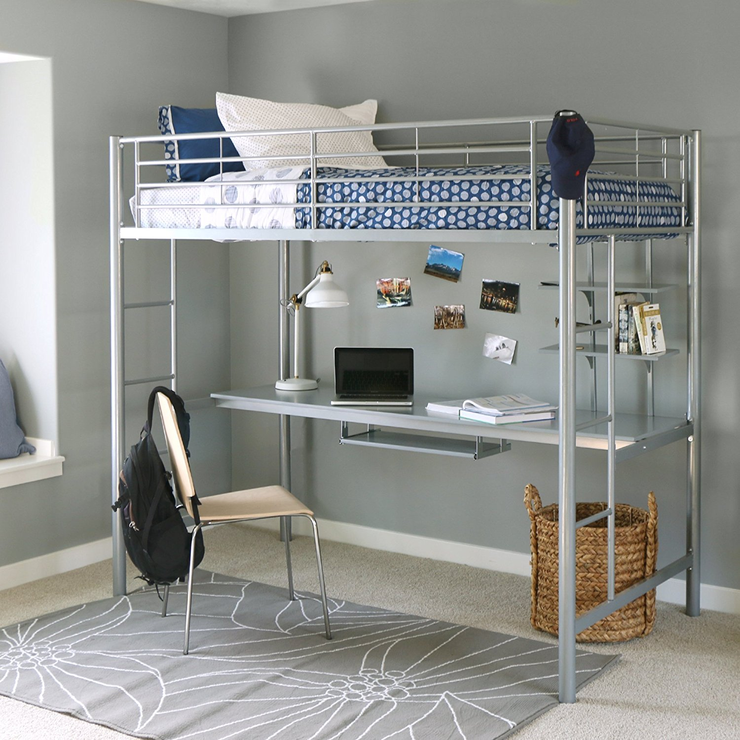 3 Twin Beds In The Space Of 1 Walker Edison Twin Metal Loft Bed With Workstation In