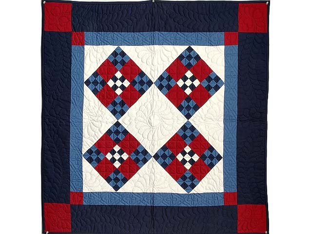Amish Red White And Blue Nine Patch Wall Hanging