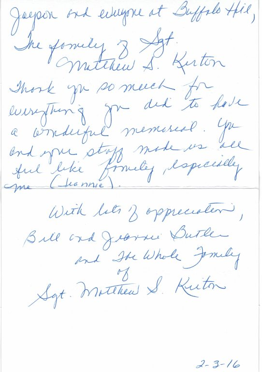 Buffalo Hill Funeral Home  Crematory Letters From Families