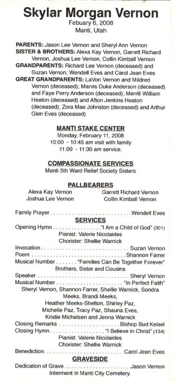 Funeral Program Samples Magleby Mortuary Richfield UT funeral