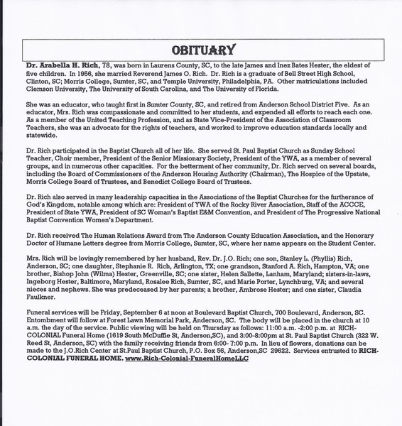 Obituary Archive Rich-Colonial Funeral Home Anderson SC funeral