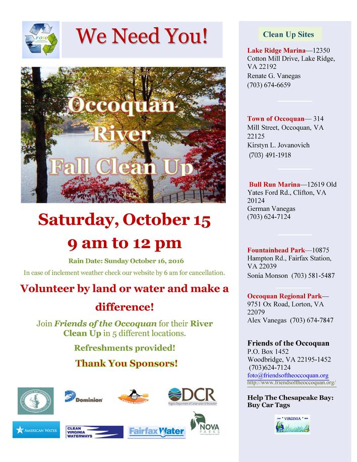 Occoquan River Fall Clean-Up - Events - Canoe Cruisers Association