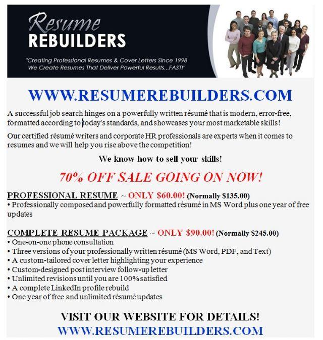Professional RESUME WRITING Services ~ 70 OFF! PORTLAND OREGON