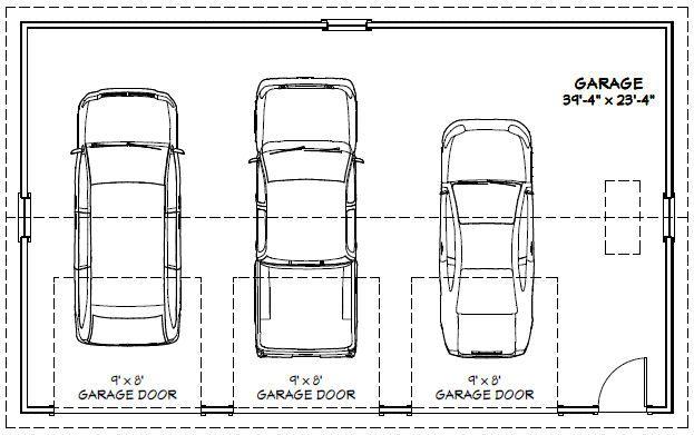 40x24 3 Car Garage 960 Sq Ft Pdf Garage Plan Atlanta