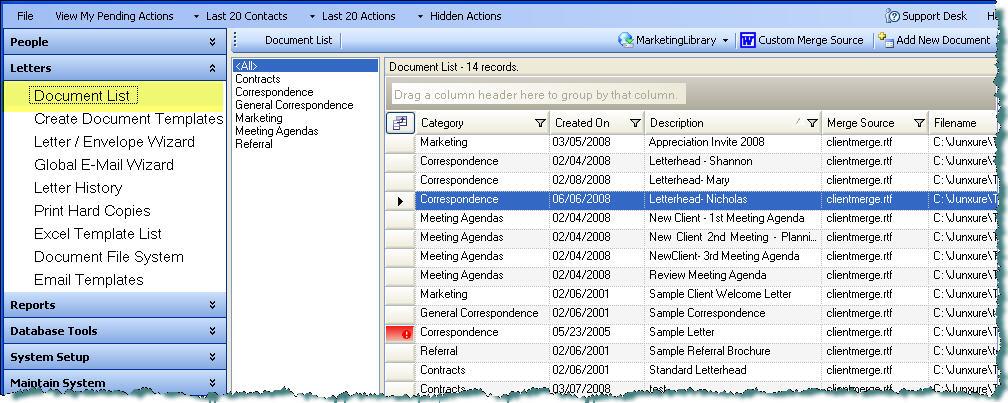 Document List - create document template