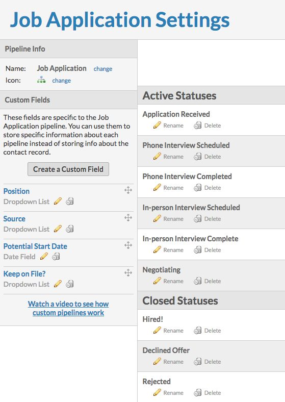 Using pipeline templates Job Application - Job Application Template
