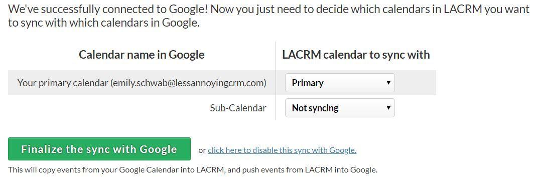 How do I sync my iPhone calendar with the CRM?