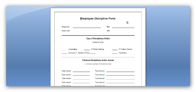 Employee Discipline Form Employee Attendance Warning Forms