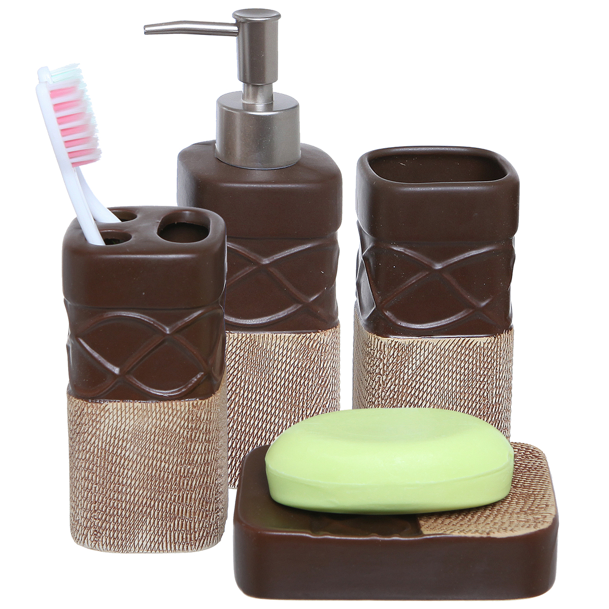 Bathroom Dispenser Set Details About Brown Bathroom Set Toothbrush Holder Tumbler Soap Dish Liquid Soap Dispenser