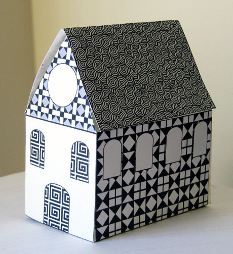 Free Printable Little Paper House  Black and White Patterns Print