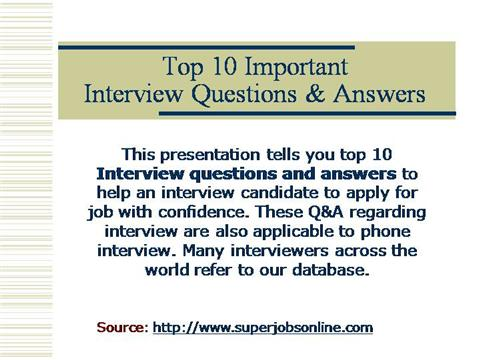 Top Job Interview Questions And AnswersauthorSTREAM