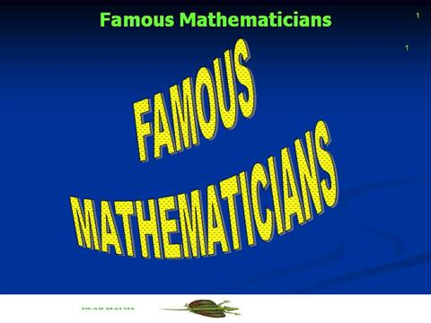 Famous MathematiciansauthorSTREAM