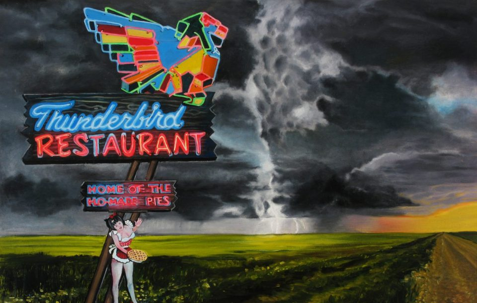"""An untitled painting from Buffalo painter Bruce Adams' """"Gun Series"""" will be on view for one night in a David Lynch-inspired art exhibition in an abandoned department store at 950 Broadway."""
