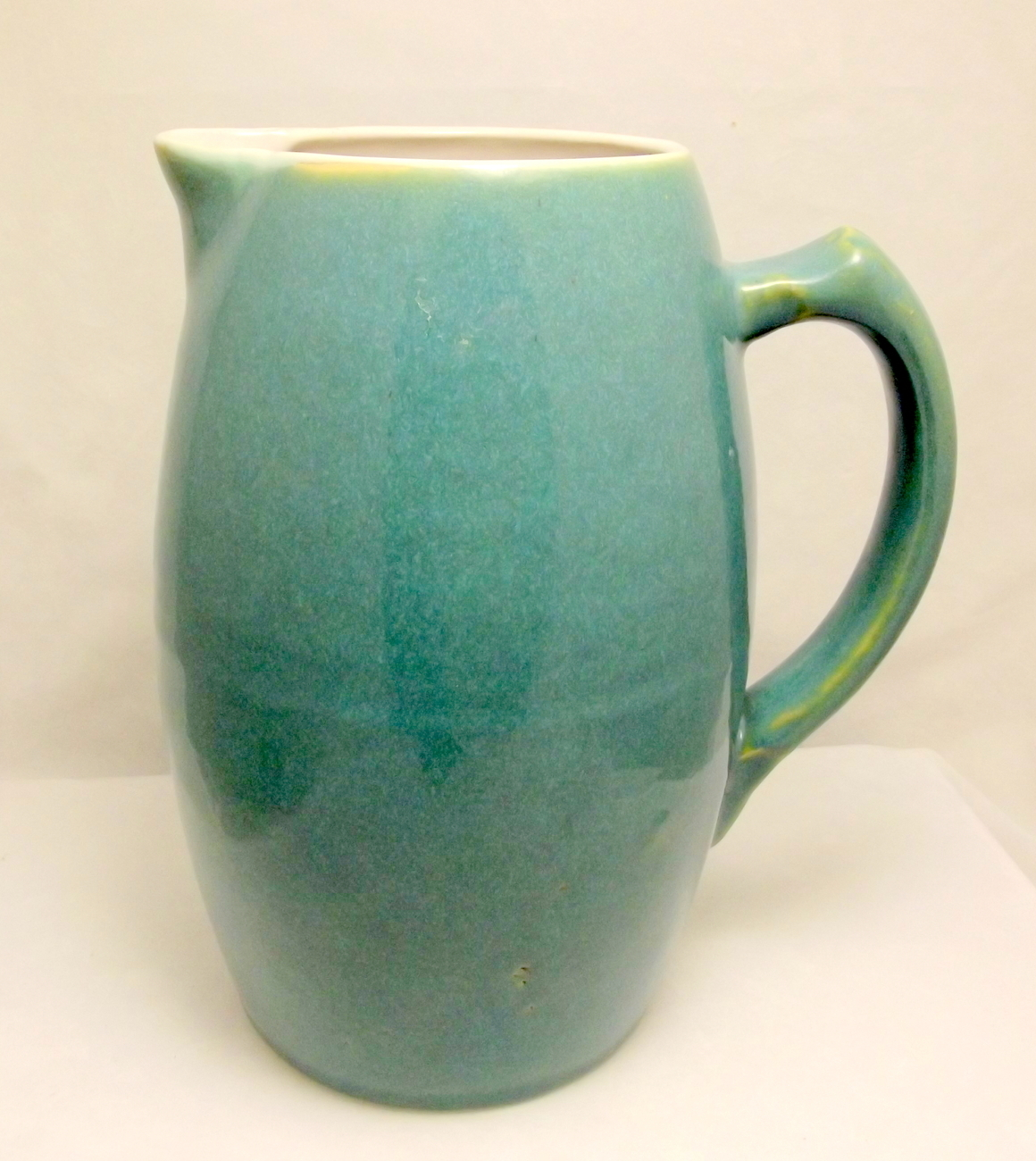 Water Pitcher Ceramic Vintage Early Uhl Pottery Water Pitcher Turquoise Green