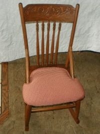 Oak Carved Sewing Rocker / Rocking Chair (R162) - Post-1950