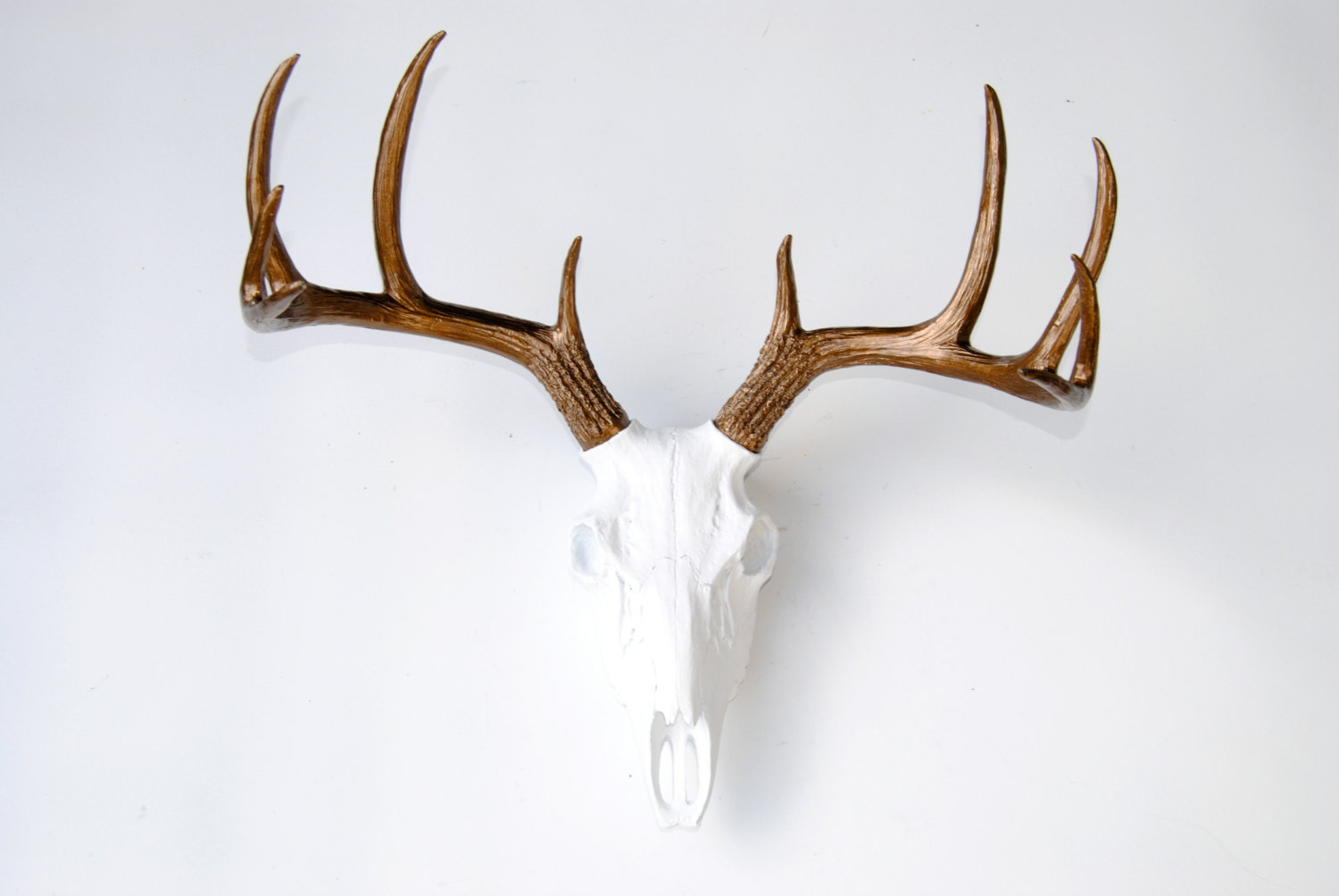 Fake Deer Skull And Antlers Faux Taxidermy White Deer Skull Bronze Antlers Wall