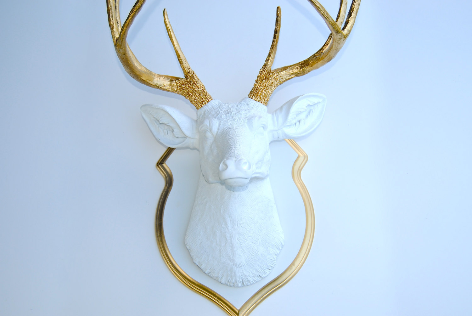 Faux Stag Head White And Gold Faux Deer Head With Matching Shield Mount