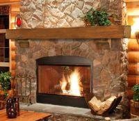 Large Fireplace Mantel Shelf Rustic Pine Wood Lodge Wall ...
