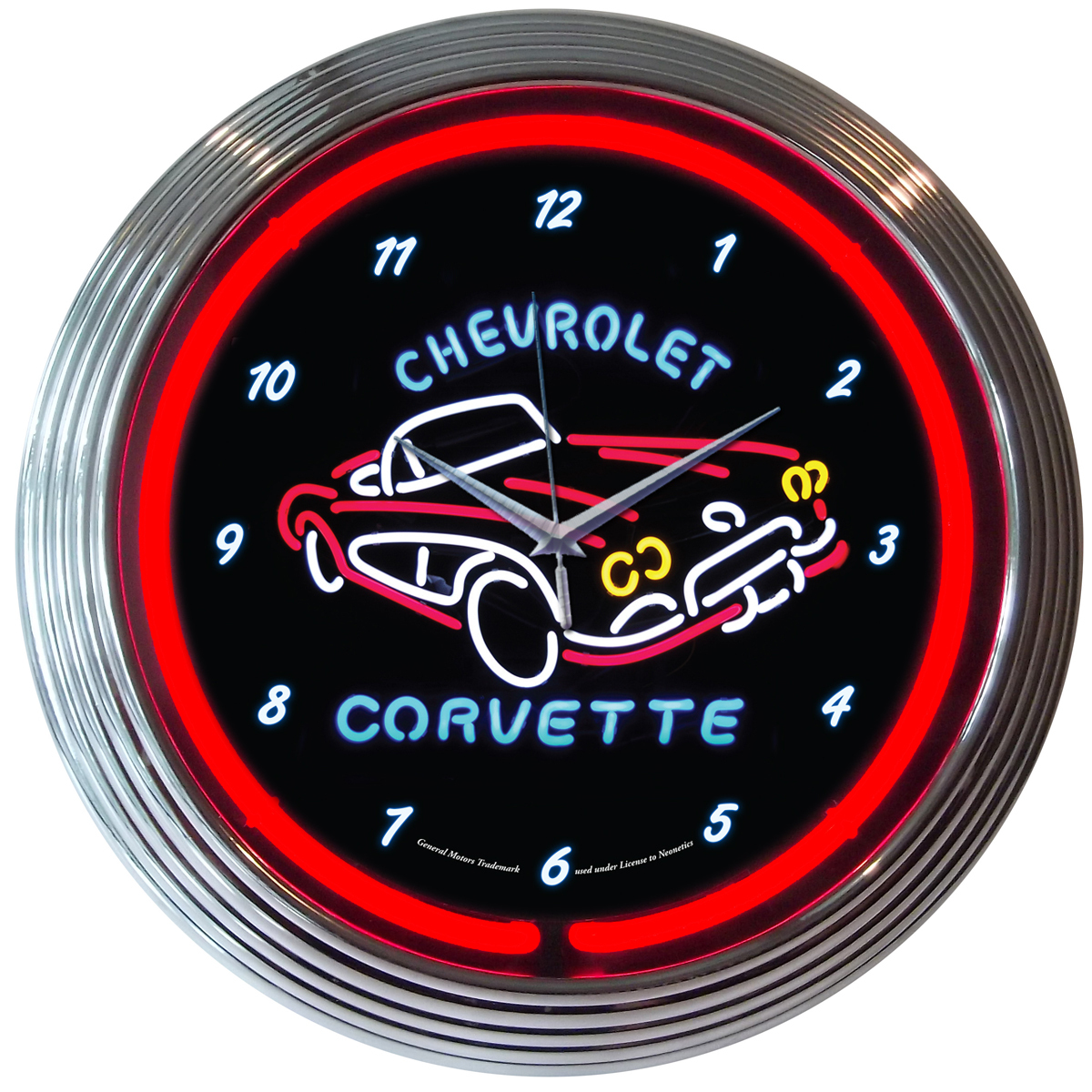 Garage Art Neon Signs Chevrolet Corvette 15 Quot Neon Light Wall Clock Sign Hot Rod