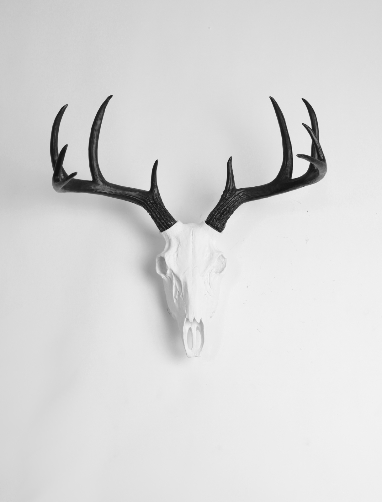 Fake Deer Skull And Antlers White Resin Deer Skull W Black Antlers Faux Stag Decor