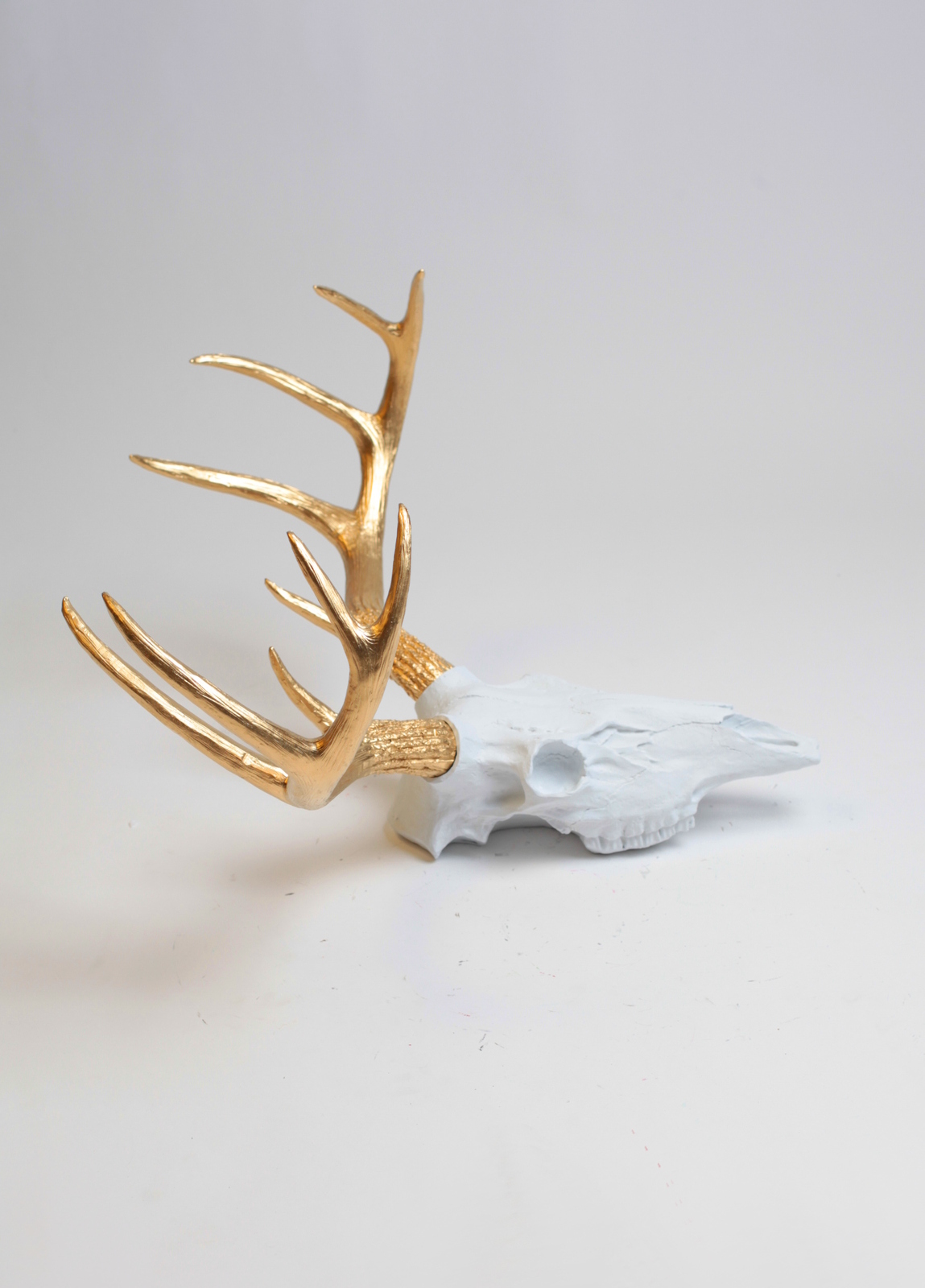 Fake Deer Skull And Antlers White Resin Deer Skull W Gold Antlers Faux Stag Decor