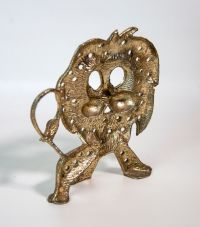Vintage metal gold tone Lion pierced earring holder from ...