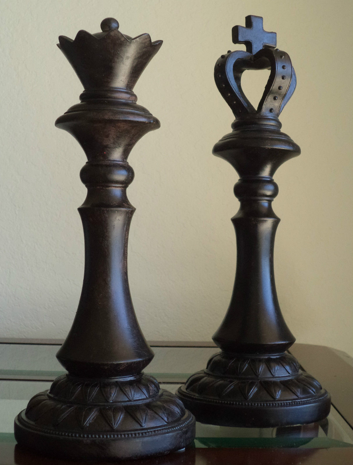 Chess Decor Large Chess Pieces King Queen Distressed Modern Home