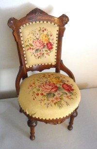Antique Victorian Needlepoint Parlor Chair - Unknown