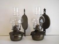 Oil Lamp Vintage Rustic Metal Wall Mounted Set of 2 - Oil