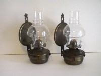 Oil Lamp Vintage Rustic Metal Wall Mounted Set of 2 - Oil