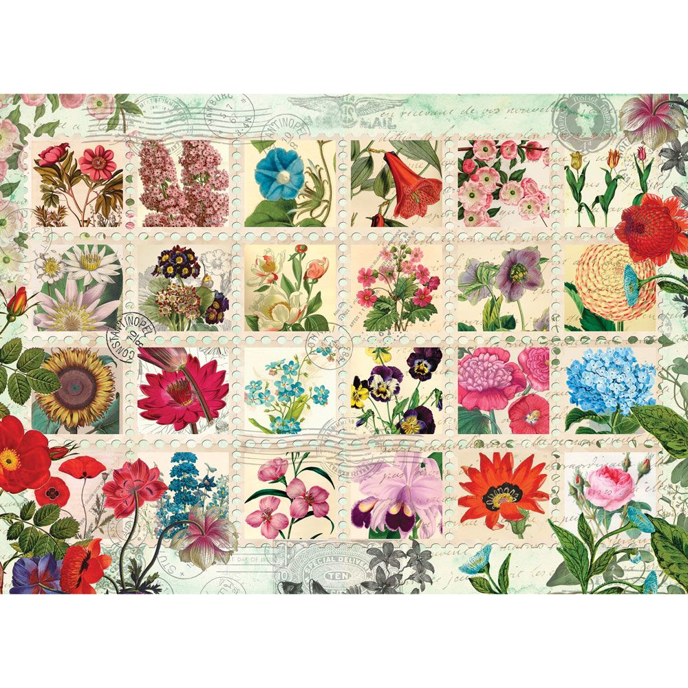 Puzzel Online Flower Stamps Quilt 500 Piece Jigsaw Puzzle