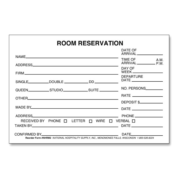 Hotel Motel Registration Cards \ Forms National Hospitality Supply - guest card template