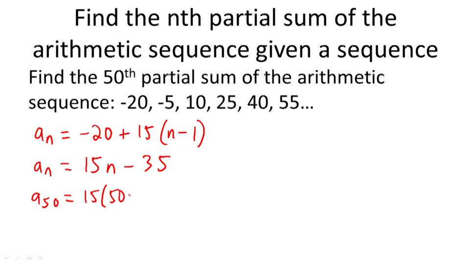 Sums of Finite Arithmetic Series ( Video ) Calculus CK-12 Foundation - arithmetic sequence example