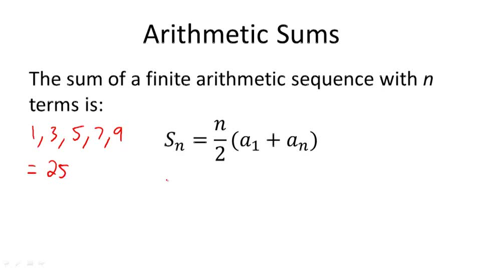 Finding the Sum of a Finite Arithmetic Series CK-12 Foundation - arithmetic sequence example