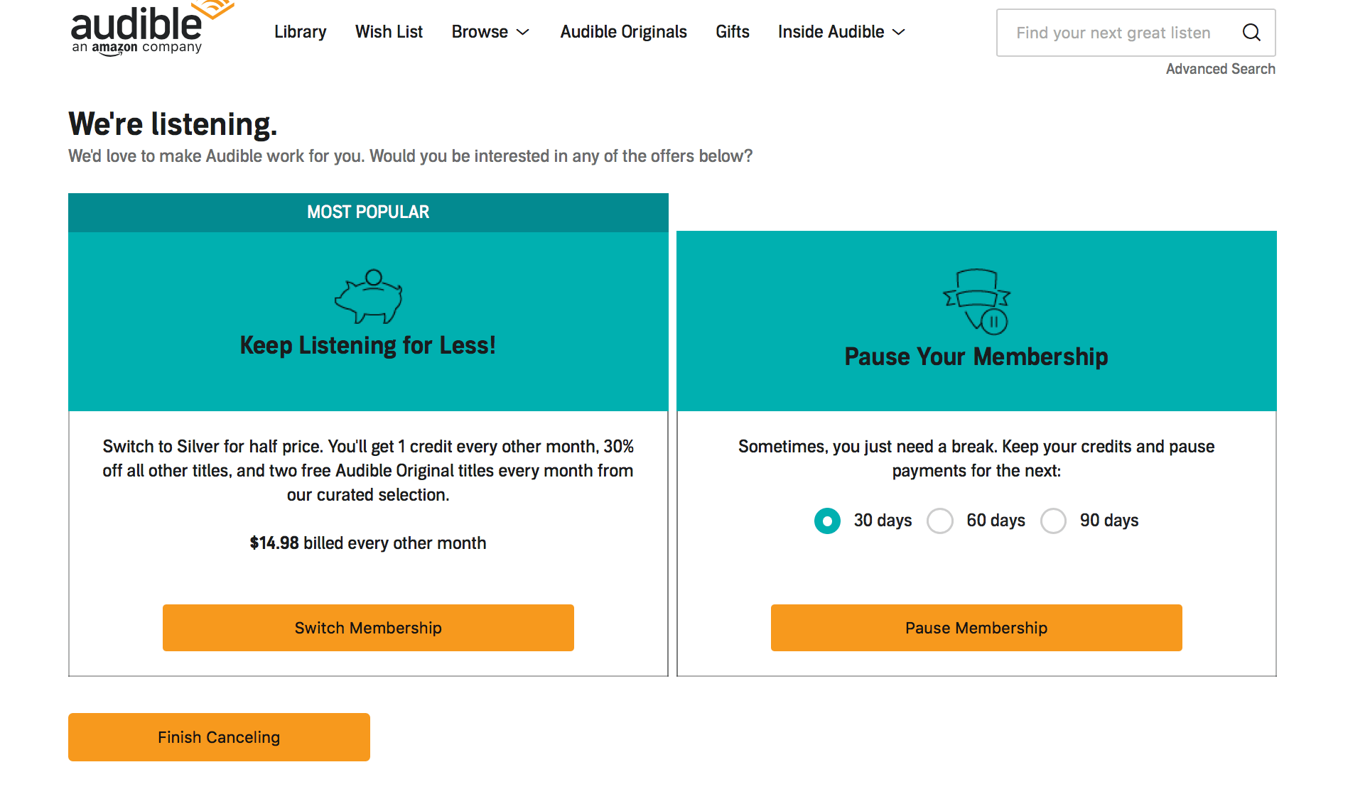 Amazon Audible Cancel Membership How To Cancel Audible Your Guide With Screenshots Tbr