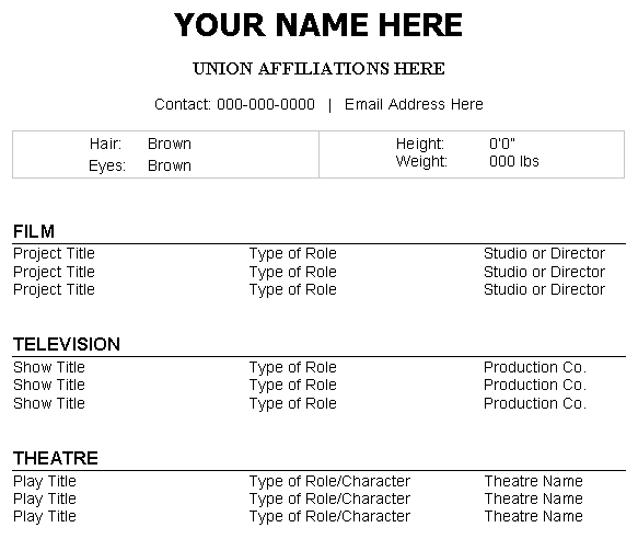 How To Make A Professional Acting Resume Career Trend Technical Theatre  Resume  Technical Theatre Resume