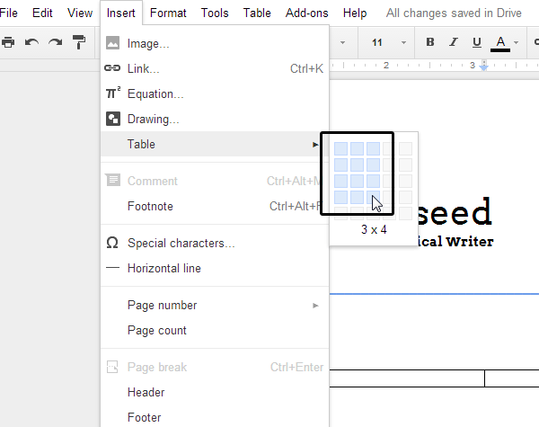adding resume to google docs