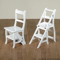 White Convertible Ladder Chair Library Step Stool A113A-W ...