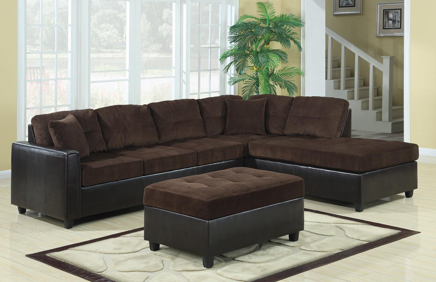 Corduroy Sofa Sectional Chocolate Corduroy/dark Brown Vinyl Sectional Sofa With