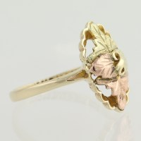 Black Hills Gold Leaf Ring - 10k 12k Yellow Rose Green ...