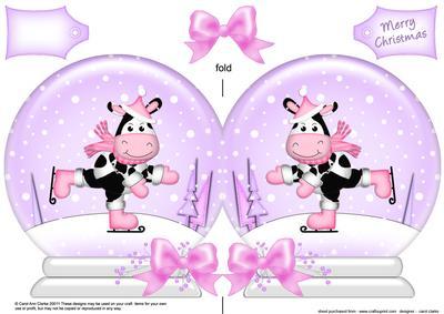 Xmas Skating Milly Moo Cow Snow Globe Shaped Card