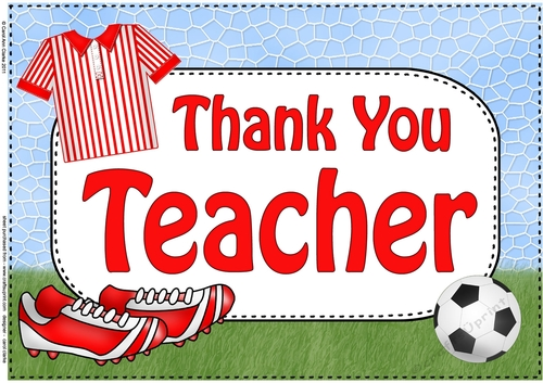 A4 THANK YOU TEACHER Football Card Topper - CUP769914_359 Craftsuprint