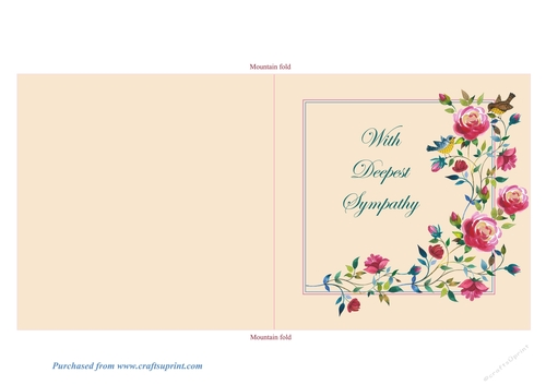 Climbing Roses Quick and Easy Print, Cut and Fold Sympathy Card