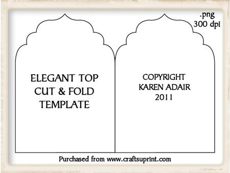 Elegant Top Cut and Fold Card Template - CUP189236_168 Craftsuprint - card template
