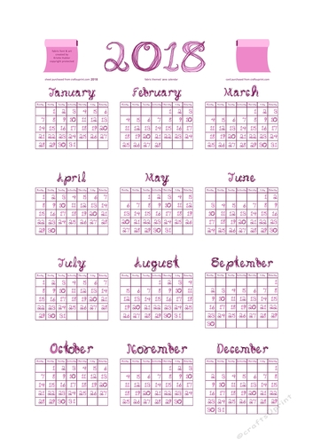 2018 Calendar Fabric Font Orchid / Lilac Type face and White